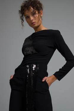 Payet Şeritli Drapeli Bluz