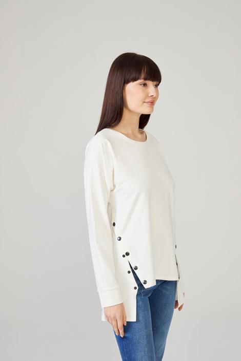 Bej Yanları Çıtçıtlı Sweatshirt