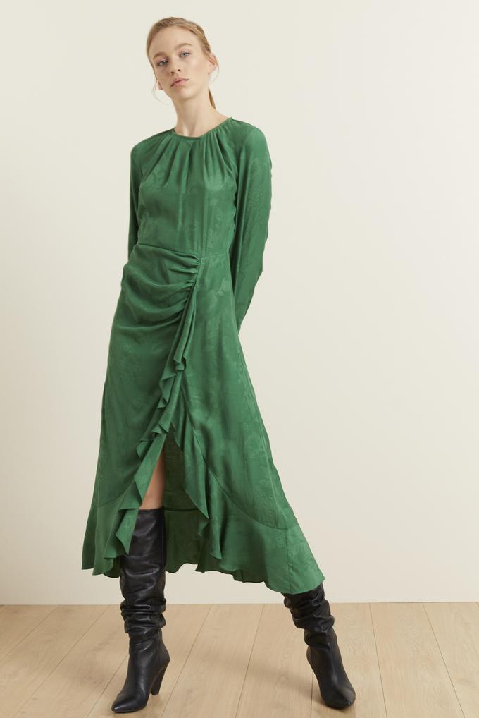 Yeşil Derin Yırtmaçlı Jakar Elbise