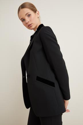 Siyah Kadife Garnili Ceket