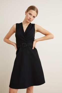 Beli Kemerli Kloş Elbise