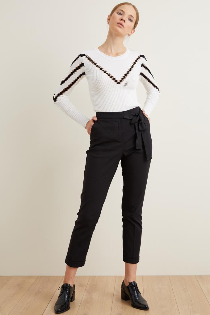 Siyah Saten Kuşaklı Pantolon