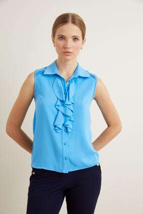 Mavi Volanlı Kolsuz Gömlek