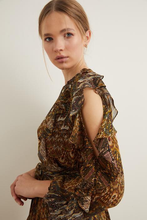 Kol Detaylı Şifon Elbise