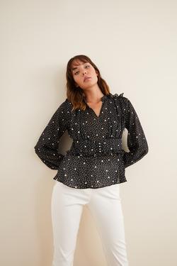 Desenli  Omuzları Fırfırlı Bluz