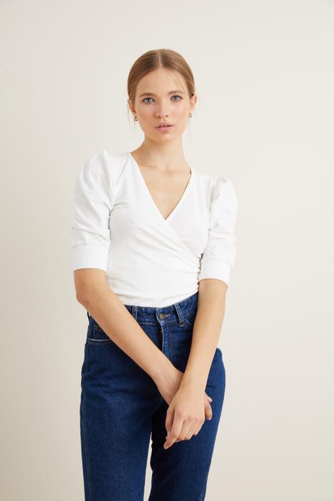 Beyaz Örme Kruvaze Bluz