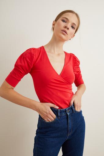 Kırmızı Örme Kruvaze Bluz