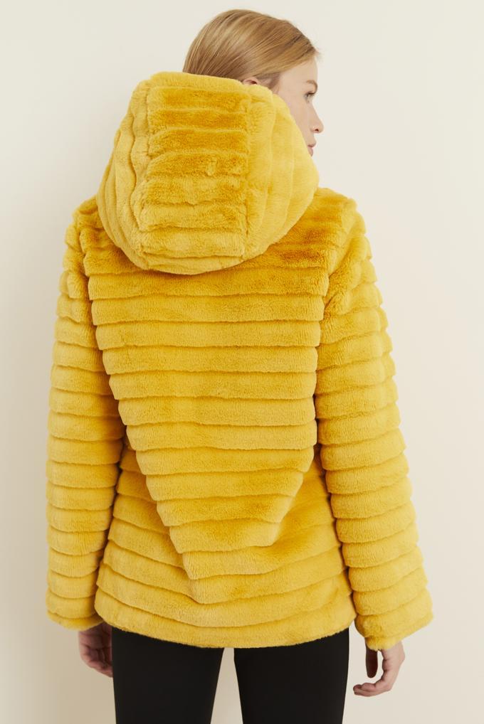 Sarı Peluş Uzun Kol Mont