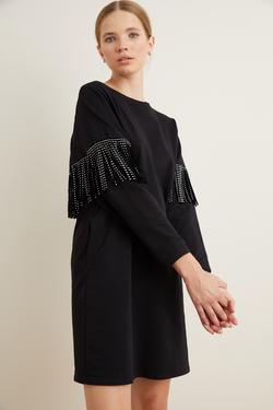 Püskül Detaylı Mini Elbise