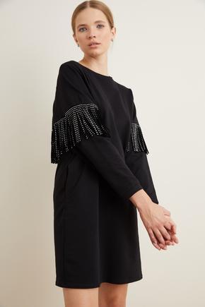 Siyah Püskül Detaylı Mini Elbise