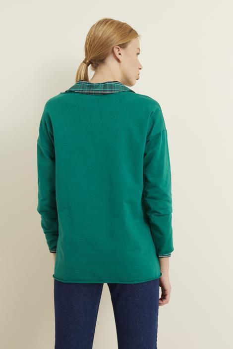 Yeşil Asimetrik Kesim Sweatshirt