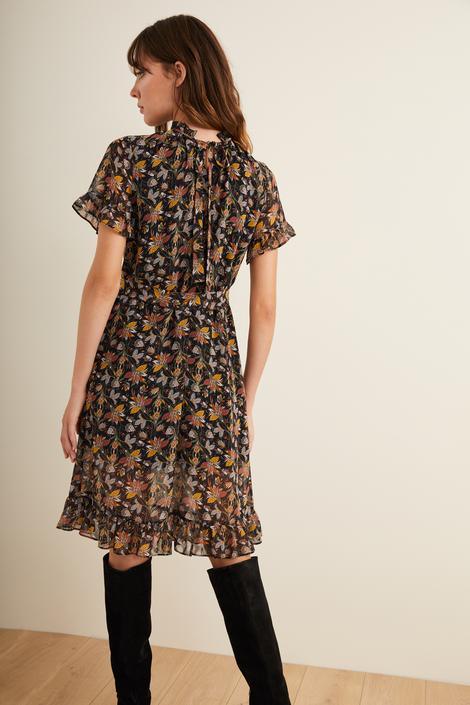 Siyah Beli Kuşaklı Şifon Elbise