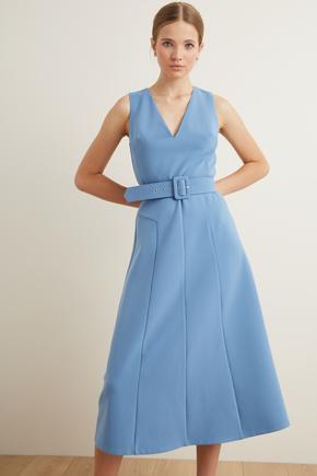 Mavi Kemerli Kolsuz Kuplu Elbise
