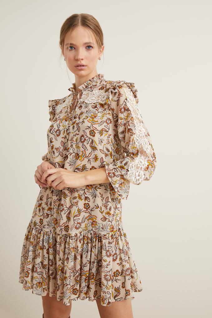 Kahverengi Dantel Detaylı Volanlı Elbise