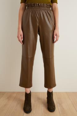 Beli Lastikli Bol Deri Pantolon