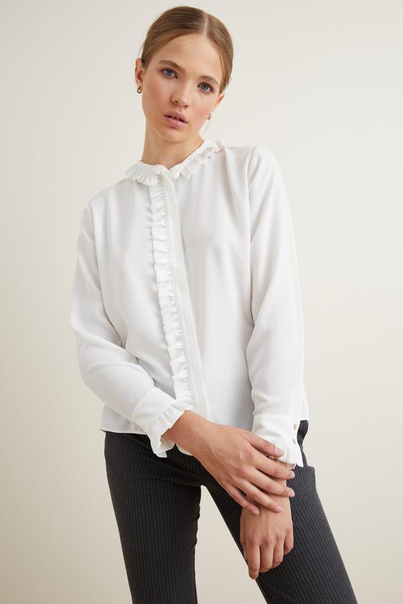 Bej Fırfırlı Uzun Kol Bluz