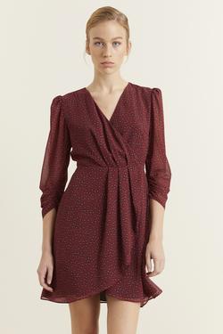 Kruvaze Desenli Şifon Elbise
