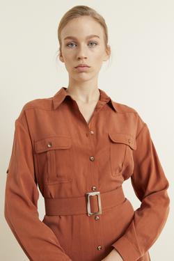 Kemerli Gömlek Elbise