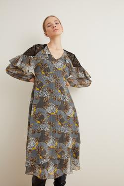 Omuzları Dantelli Şifon Elbise