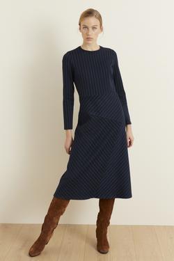 Uzun Kol Çizgili Elbise
