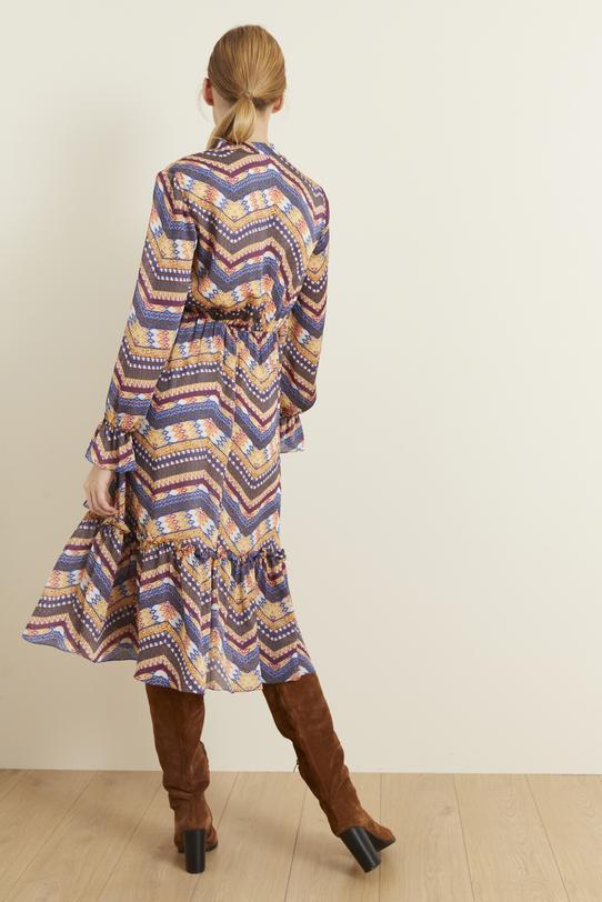 Lacivert Yakası Püsküllü Desenli Elbise