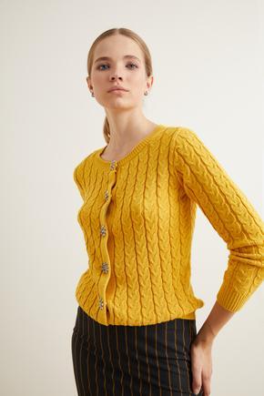 Sarı Kristal Taşlı Kontrast Renkli Triko Hırka