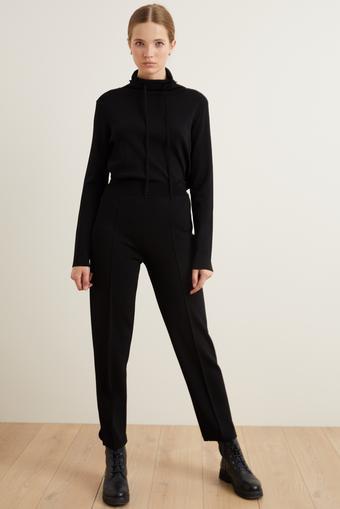 Siyah Beli Lastikli Triko Pantolon