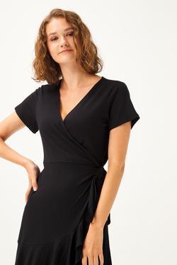 Kruvaze Kısa Kol Elbise