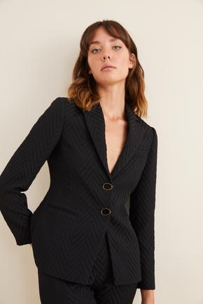 Siyah Jakarlı Ceket