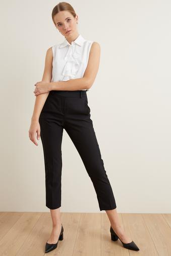 Siyah Yanları Saten Pantolon