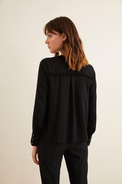 Omuzları Fırfırlı Manşeti Taş Şeritli Bluz