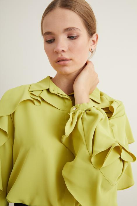 Sarı Kolları Volanlı Gömlek