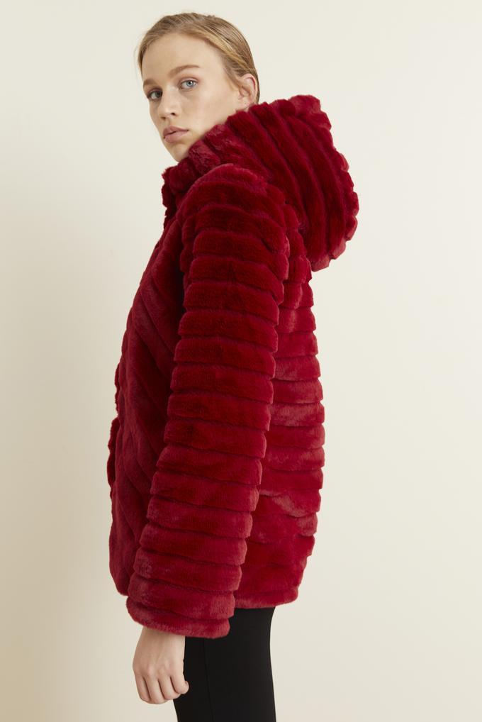 Kırmızı Peluş Uzun Kol Mont