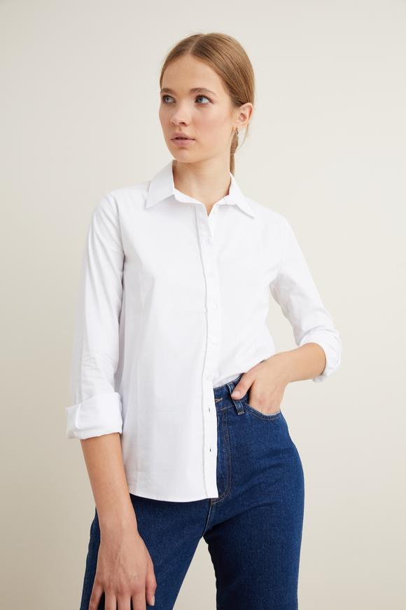 Beyaz Taş Aksesuarlı Gömlek