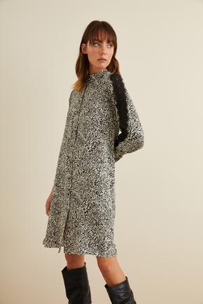 Siyah Uzun Kollu Desenli Elbise