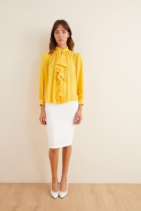 Sarı Önü Volanlı Uzun Kol Bluz