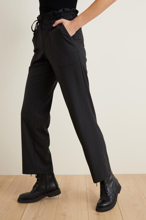 Yüksek Bel Çizgili Cigarette Pantolon