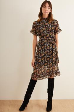 Beli Kuşaklı Şifon Elbise