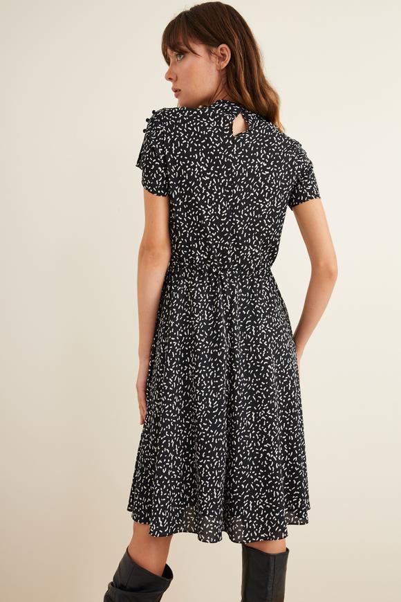 Siyah Kısa Kollu Kloş Elbise