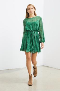 Beli Lastikli Desenli Şifon Elbise