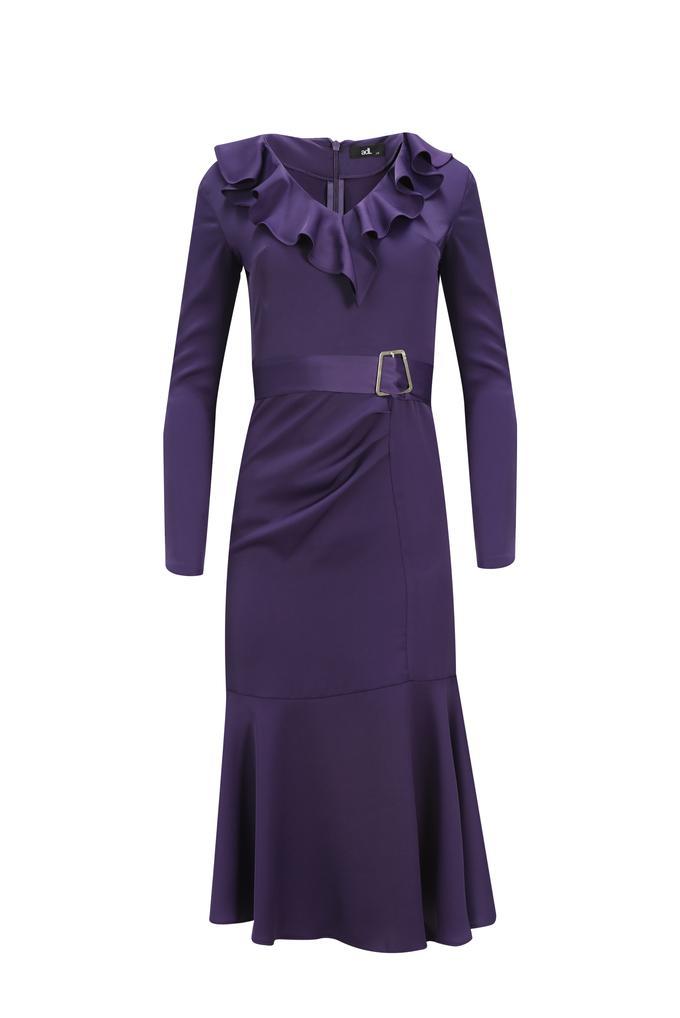 Mor Yakası Volanlı Elbise