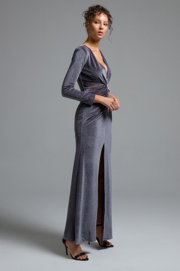 Gri V Yaka Elbise