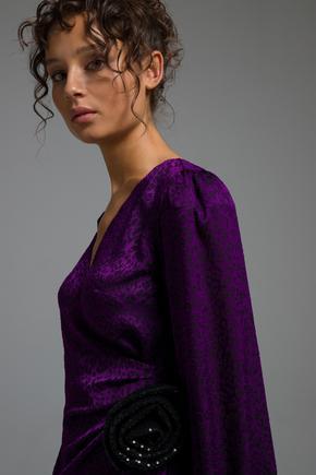 Mor Belden Bağlamalı Elbise