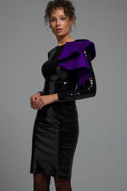 Tek Omuzlu Volanlı Payet Elbise