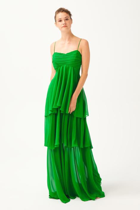 Yeşil Volanlı Elbise
