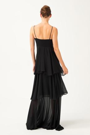 Siyah Volanlı Elbise