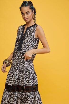 Leopar Sıfır Kol Elbise