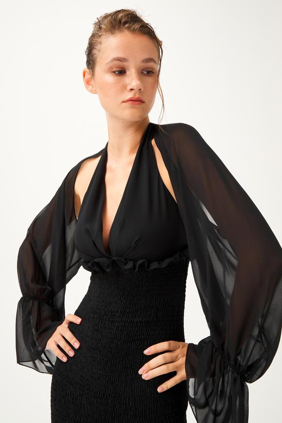Siyah Gipe Detaylı Elbise