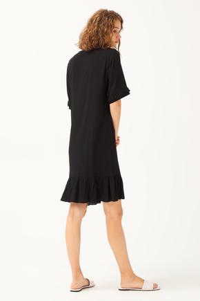 Siyah V Yaka Elbise