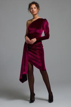 Tek Omuz Kadife Elbise